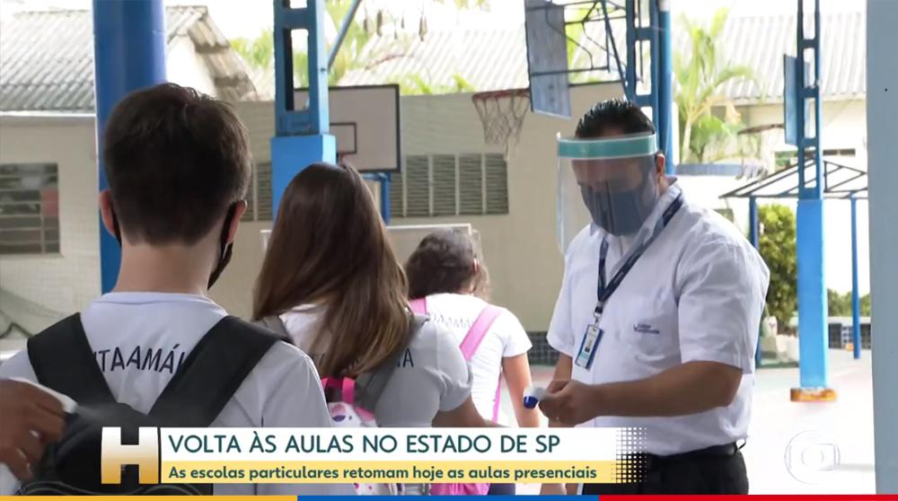 Colégio Santa Amália participa de reportagem do Jornal Hoje sobre o retorno às aulas